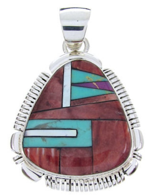 Red Oyster Shell And Multicolor Sterling Silver Slide Pendant AW69924