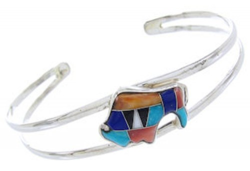 Genuine Sterling Silver Multicolor Inlay Buffalo Cuff Bracelet BW70046