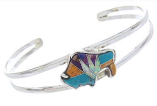 Opal And Multicolor Inlay Silver Jewelry Buffalo Bracelet BW70048