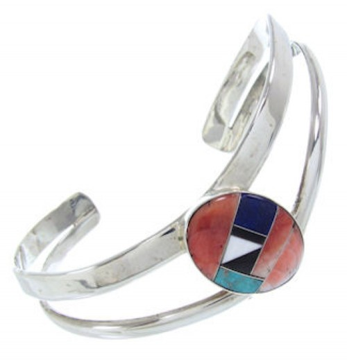 Sterling Silver Lapis Turquoise Multicolor Inlay Cuff Bracelet AW70348