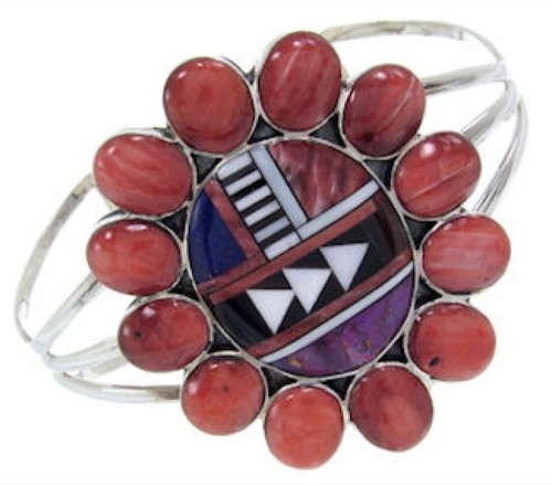 Red Oyster Shell Multicolor Inlay Sterling Silver Bracelet AW70352