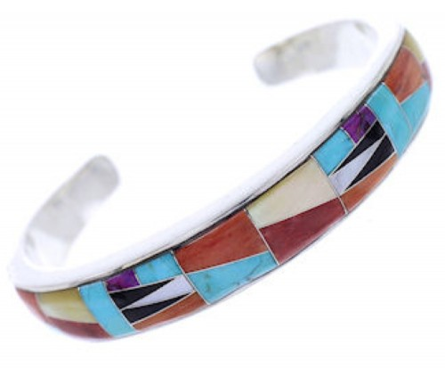 Turquoise Multicolor Inlay Silver Cuff Bracelet BW70386