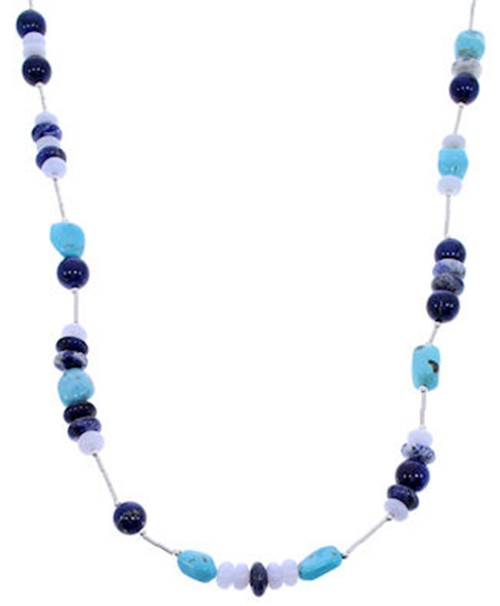 Multicolor And Genuine Sterling Silver Bead Necklace PS71075