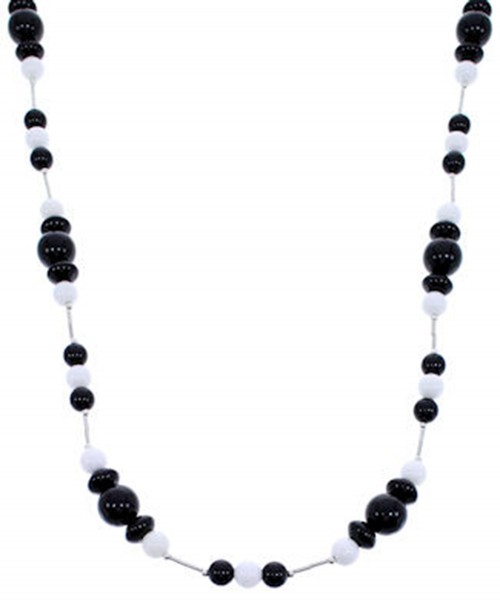 Sterling Silver Onyx and White Agate Bead Necklace PS71082