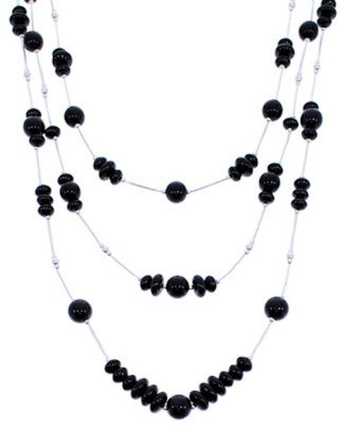 Liquid Sterling Silver 3-Strand Onyx Bead Necklace PS71042
