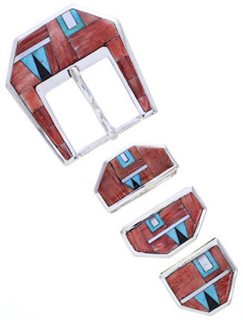 Turquoise Red Oyster Shell Multicolor Ranger Belt Buckle AW70598