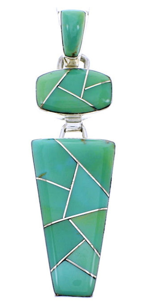 Genuine Sterling Silver Pendant Turquoise Inlay Jewelry BW70951