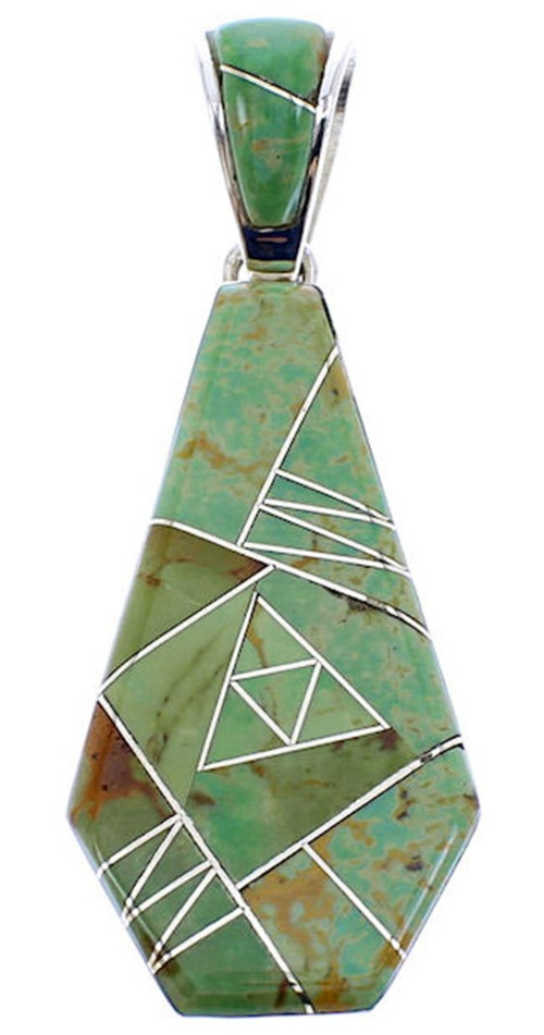 Turquoise Inlay Sterling Silver Reversible Pendant BW70974