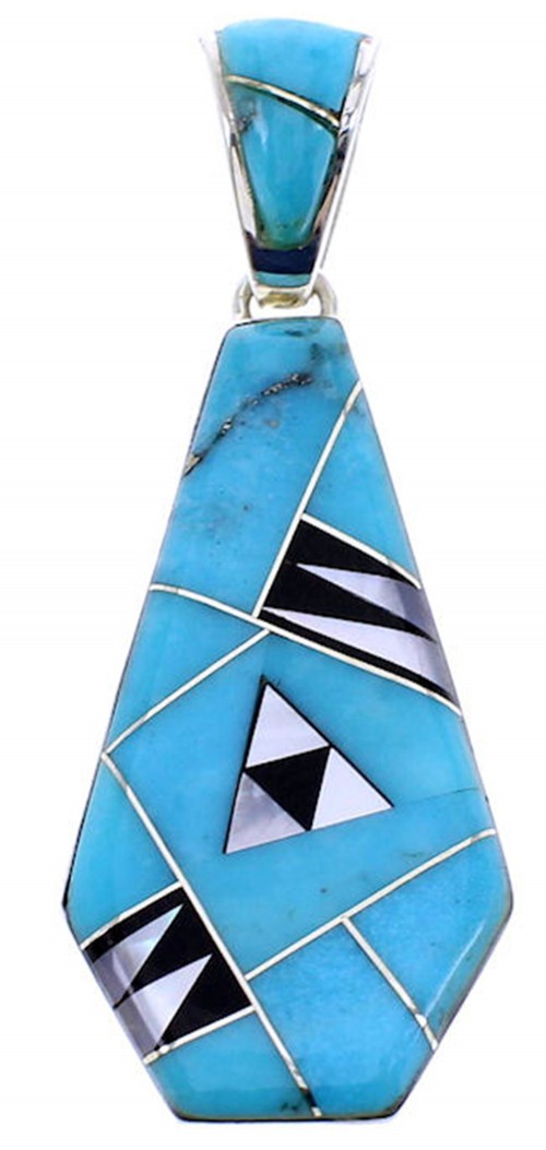 Southwest Turquoise Multicolor Inlay Reversible Pendant BW70988