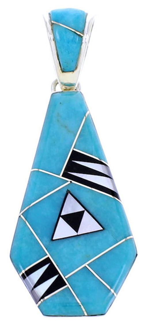 Turquoise Multicolor Inlay Reversible Sterling Silver Pendant BW70991