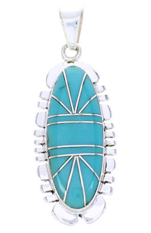 Genuine Sterling Silver Turquoise Inlay Slide Pendant BW71008