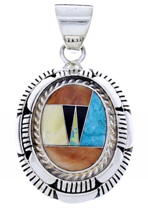 Southwest Multicolor Sterling Silver Jewelry Pendant AW70690
