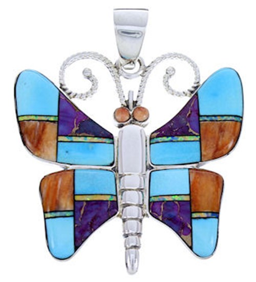 Butterfly Multicolor Turquoise Sterling Silver Slide Pendant AW70670