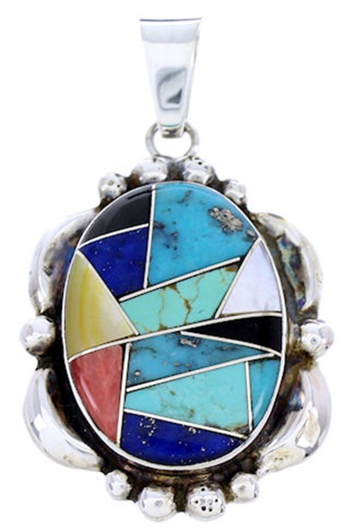 Southwest Silver Multicolor Inlay Pendant DW71524