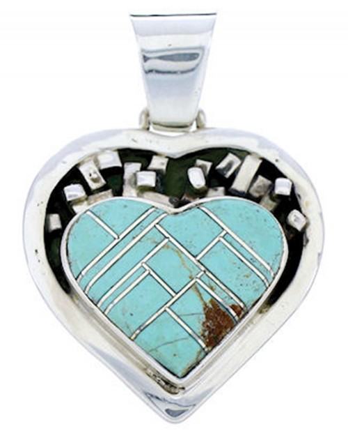 Heart Jewelry Turquoise Sterling Silver Pendant AW70870