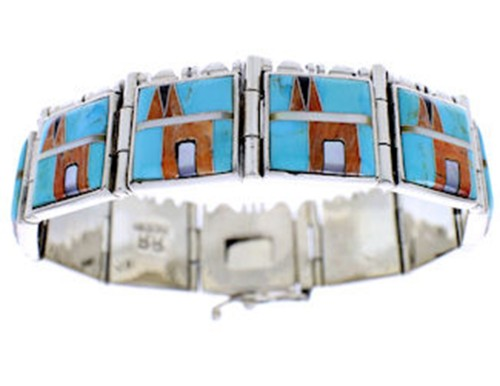 Turquoise Multicolor Inlay Sterling Silver Link Bracelet BW71194