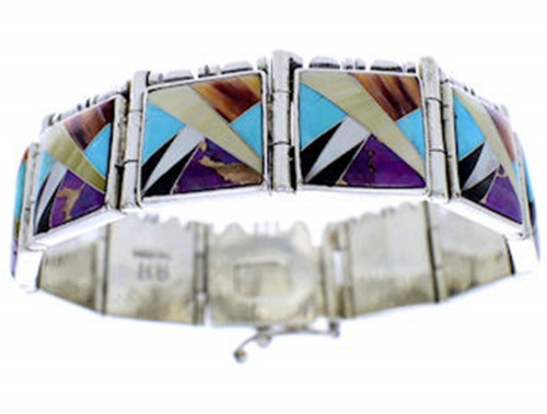 Sterling Silver Multicolor Inlay Link Bracelet Jewelry BW71212