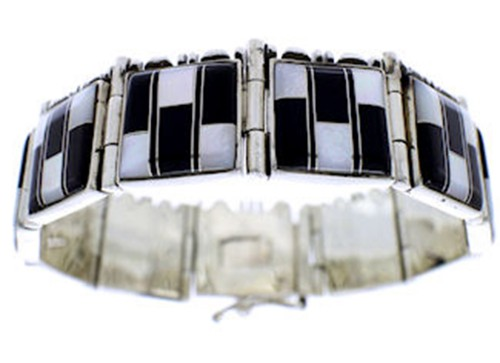 Mother of Pearl And Black Jade Inlay Silver Link Bracelet BW71257