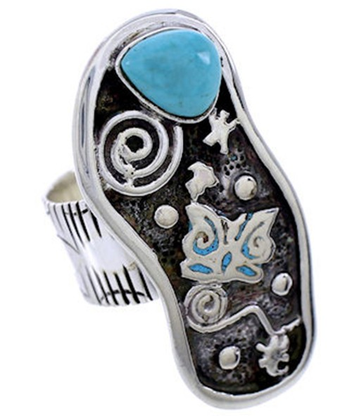 Turquoise Butterfly Sterling Silver Ring Size 4-3/4 BW71151
