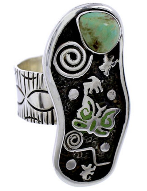 Southwestern Butterfly Turquoise And Silver Ring Size 6-3/4 BW71174