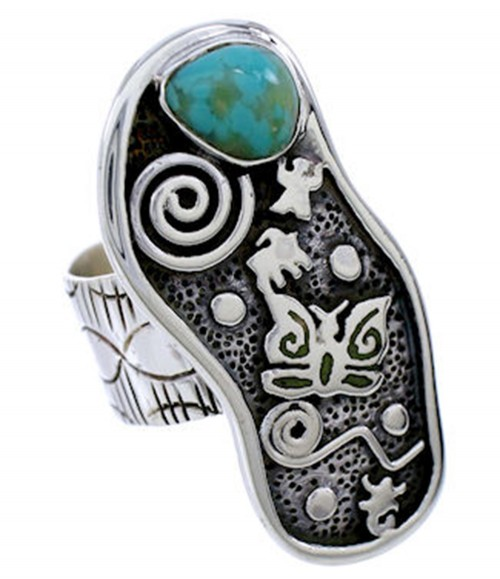 Southwest Turquoise Butterfly Silver Jewelry Ring Size 5-1/4 BW71178