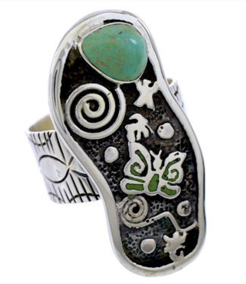 Southwest Turquoise Butterfly Jewelry Silver Ring Size 4-3/4 BW71186