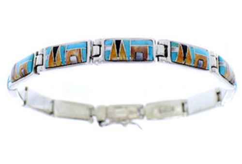 Multicolor Southwest Inlay Sterling Silver Link Bracelet BW71358