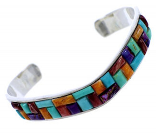 Southwestern Sterling Silver Multicolor Inlay Cuff Bracelet PS71188