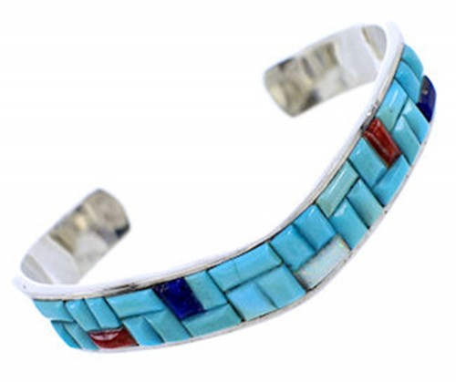 Multicolor Southwest Turquoise Sterling Silver Cuff Bracelet PS71169