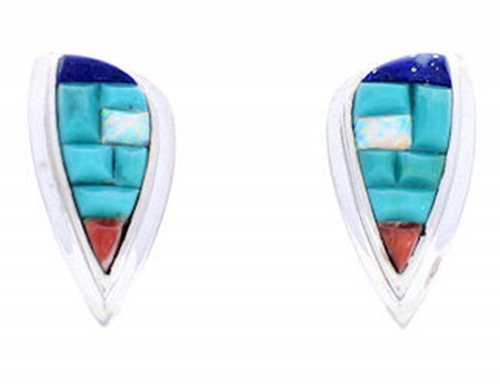 Multicolor Turquoise Inlay Sterling Silver Post Earrings AW71299