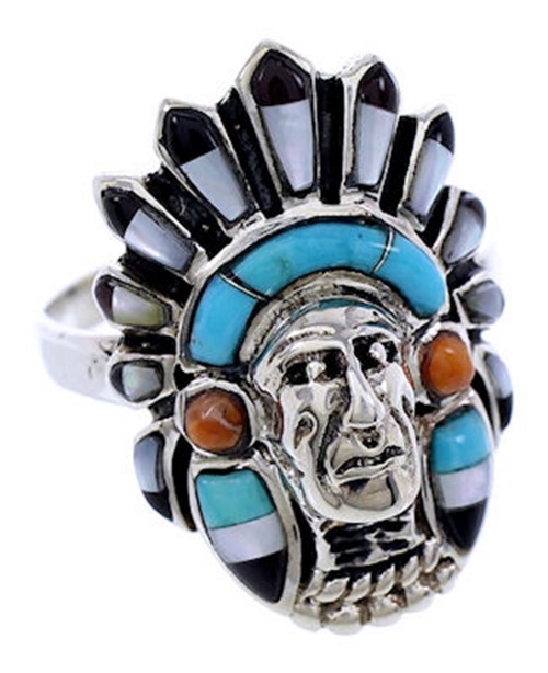 Multicolor Sterling Silver Chief Head Ring Size 7-3/4 Jewelry NS43046