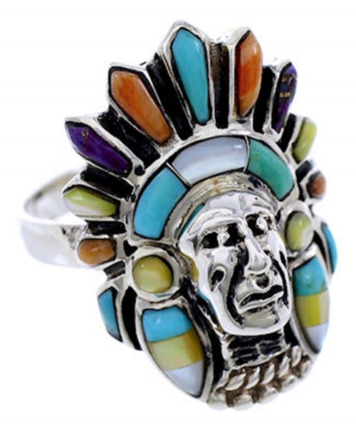 Turquoise Multicolor Jewelry Chief Head Ring Size 8-1/2 BW71508