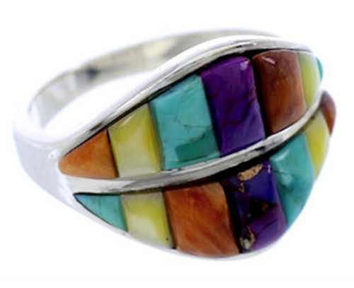 Multicolor Turquoise Inlay Silver Jewelry Ring Size 6-1/2 BW71550
