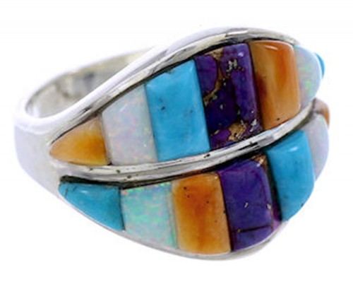 Multicolor Inlay Jewelry Sterling Silver Ring Size 5-3/4 BW71579