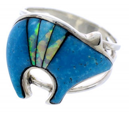 Silver Jewelry Turquoise Opal Southwest Bear Ring Size 7-3/4 BW71596