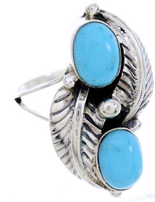 Turquoise Southwestern Sterling Silver Ring Size 5-3/4 AW72047