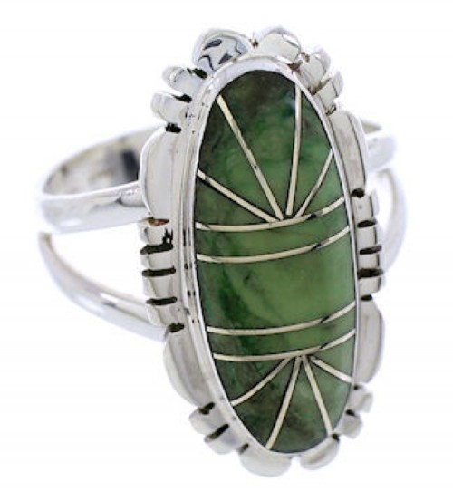 Sterling Silver Green Agate Inlay Jewelry Ring Size 8-1/4 AW71711