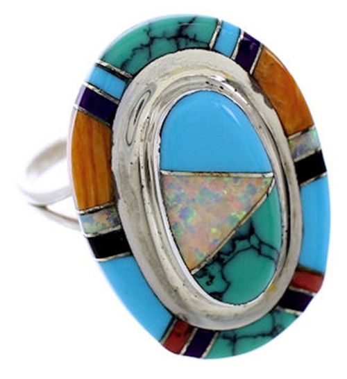 Sterling Silver And Multicolor Inlay Jewelry Ring Size 8-1/2 AW71694
