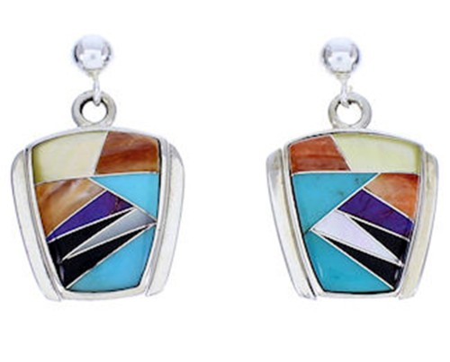 Multicolor Inlay Sterling Silver Post Dangle Earrings DW71811