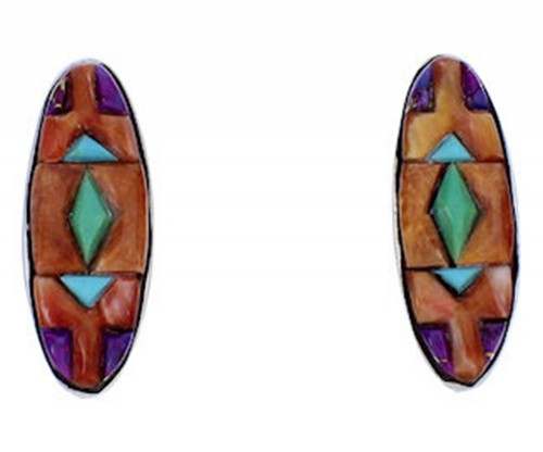 Southwestern Turquoise Multicolor Sterling Silver Earrings DW71975