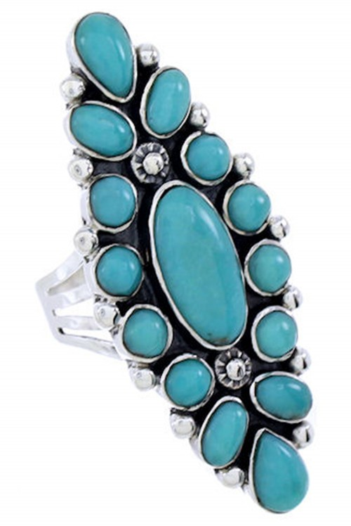 Southwest Jewelry Sterling Silver Turquoise Ring Size 6-3/4 DW72471