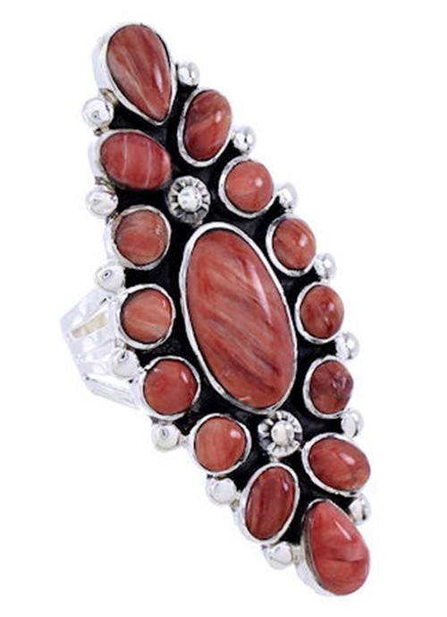 Red Oyster Shell Jewelry Large Statement Ring Size 7-3/4 BW72071