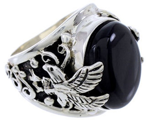 Black Jade And Genuine Sterling Silver Eagle Ring Size 10-1/4 RS42630