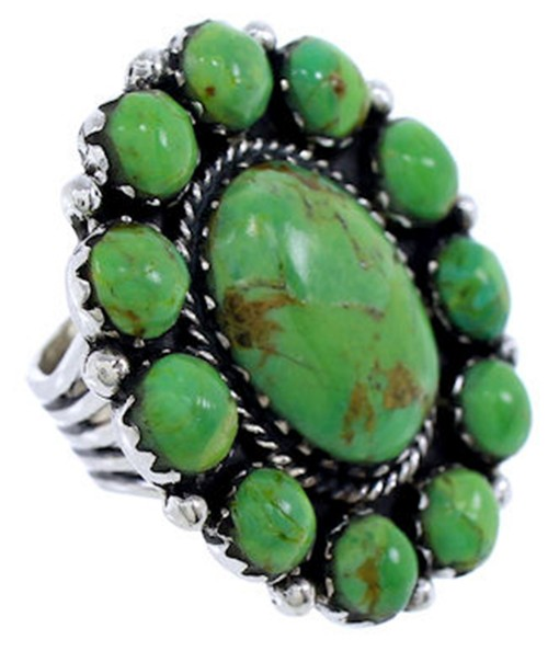 Mojave Turquoise Large Statement Piece Silver Ring Size 4-3/4 PS72450