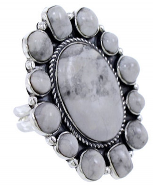 Howlite Southwest Large Statement Adjustable Ring Size 7 8 9 PS72502