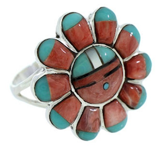 Multicolor Inlay Southwest Sun Ring Size 5-3/4 YS72217