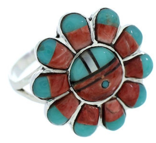 Silver Jewelry Southwest Multicolor Sun Ring Size 5-3/4 YS72243