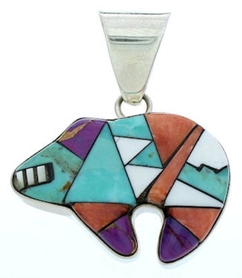 Multicolor Inlay Bear Southwest Jewelry Slide Pendant YS71717