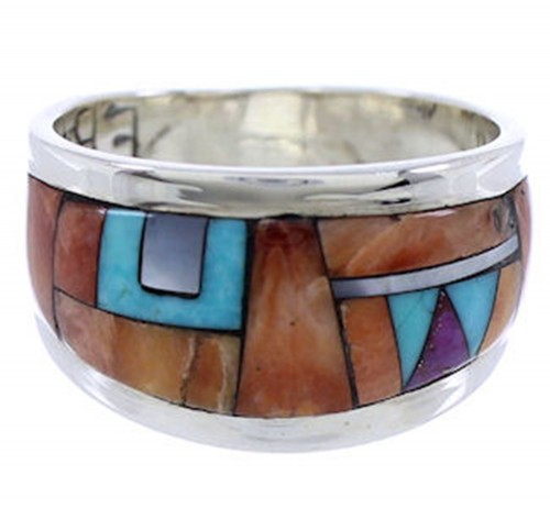 Sterling Silver Southwest Multicolor Jewelry Ring Size 6-1/4 AW72355