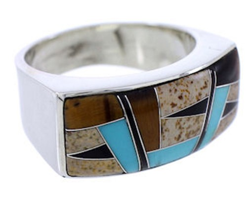 Tiger Eye And Multicolor Inlay Jewelry Ring Size 7-1/2 AW72250